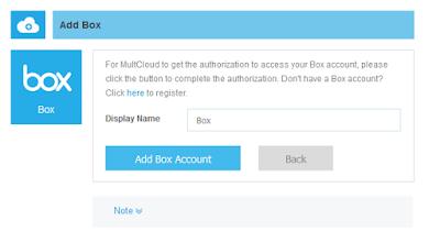 Выбор названия для аккаунта Box.com на MultCloud.com