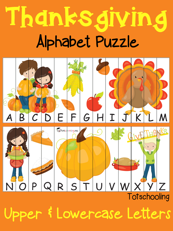 FREE Thanksgiving puzzle with alphabet sequencing in uppercase and lowercase letters.