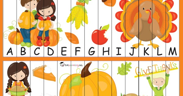 Free Thanksgiving Alphabet Puzzle | Totschooling - Toddler ...