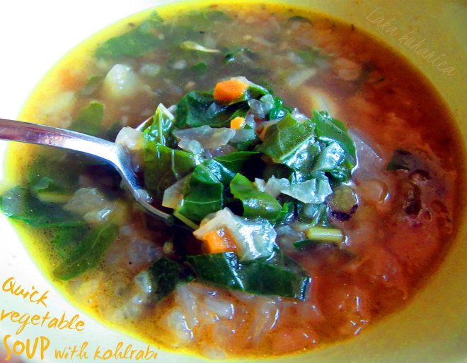 Quick vegetable soup with kohlrabi by Laka kuharica: all-vegetable soup is tasty, healthy, quick and easy to make.