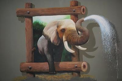 Mural lukis dinding 3D gajah