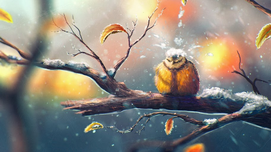Birds Nature Snow Branch 4k Wallpaper 22
