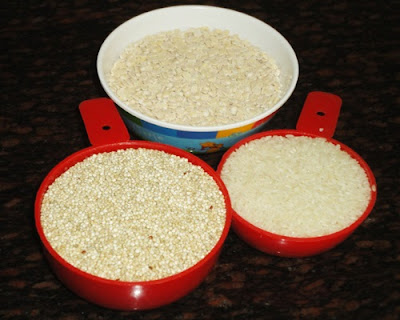 quinoa, rice and urad dal to make quinoa idli