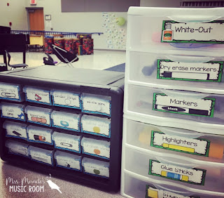 Great way to keep supplies organized in the music room! Post also includes room reveal pictures!
