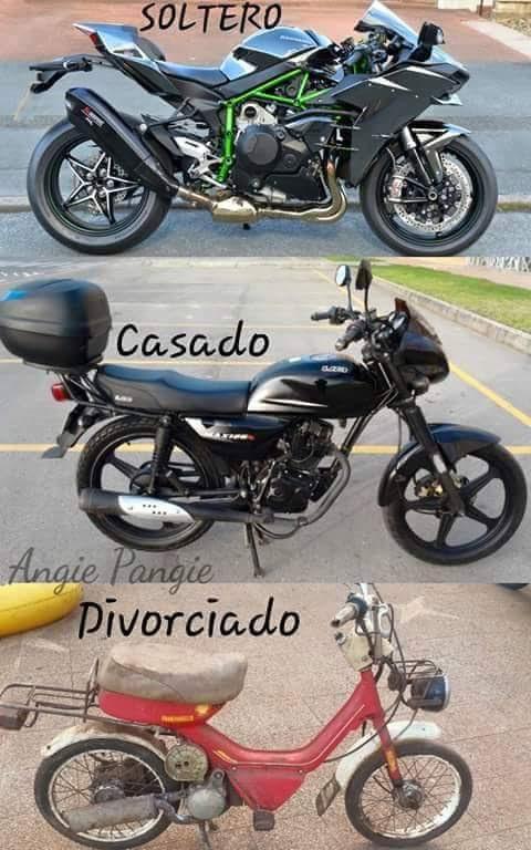 La moto del soltero y la del casado