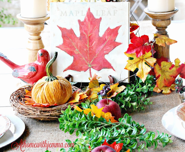at home with jemma-bird nest-maple leaves-giveaway-tablescape-decorating-fall-tips on decorating