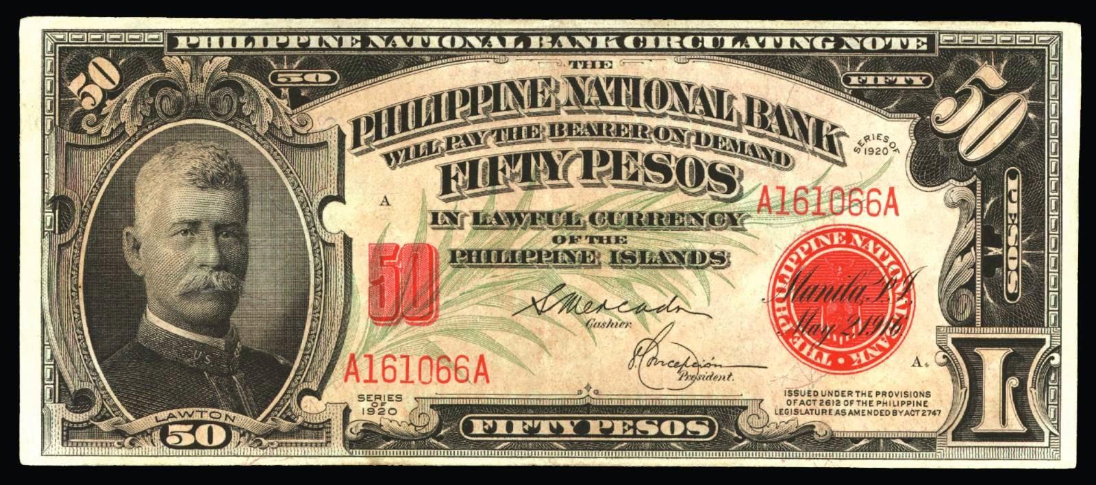Philippines 50 Pesos Circulating Note 1920 General Lawton ...  Philippines 50 ...