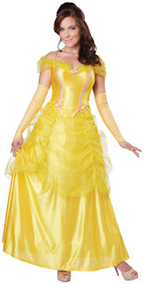 Women's Classic Beauty Yellow Dress Adult Costume for Halloween