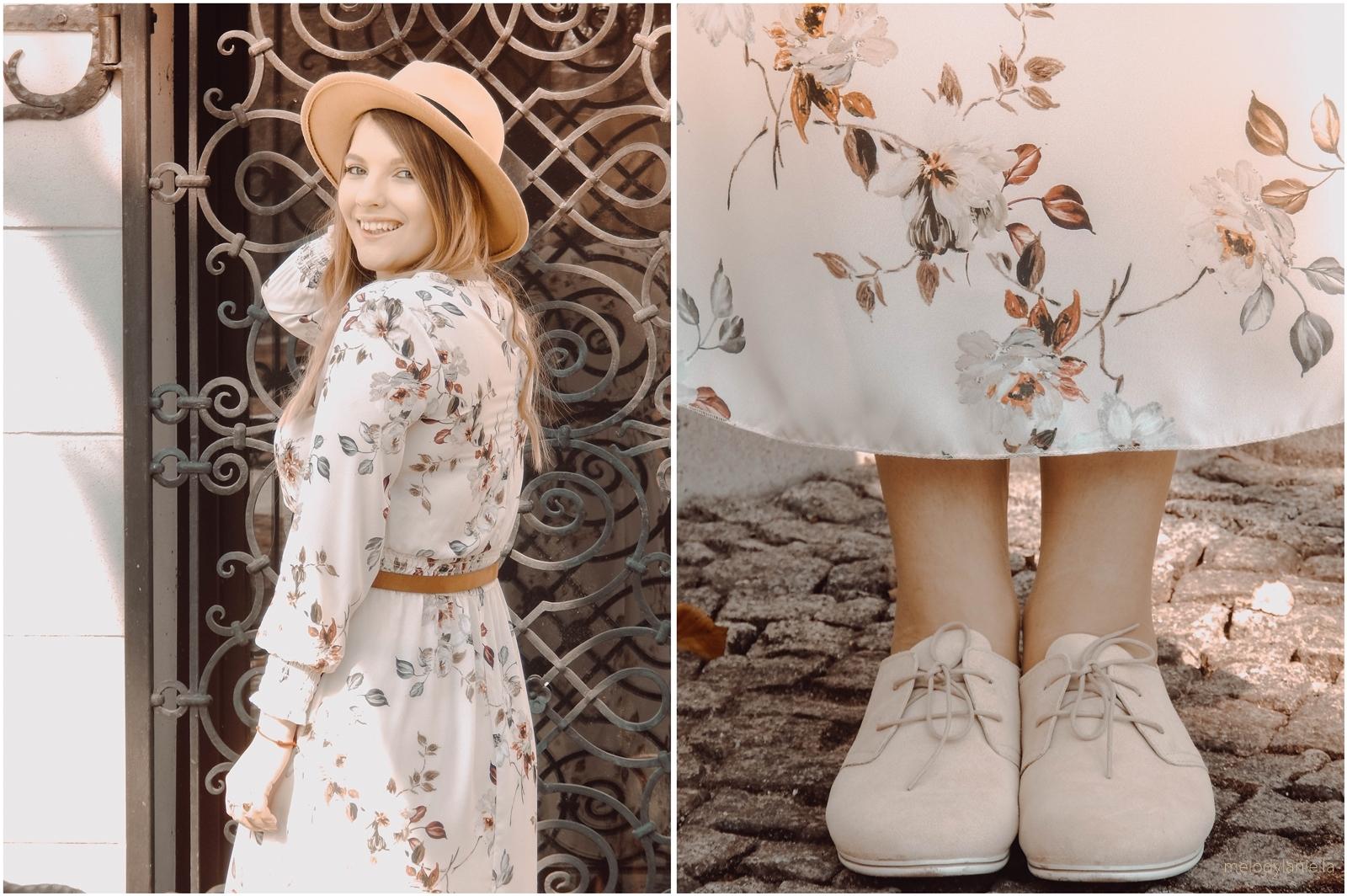 8a pudrowo różowe sznurowane buty tamaris karmelowy kapelusz sukienka boho wesele imprezy lato wiosna