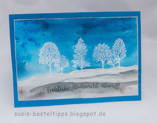 Lovely as a tree weihnachtskarte mit brusho farben in Aquarelltechnik von stampin up demonstratorin in coburg