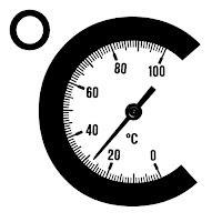 Bir santigrat derece simgesi içindeki yuvarlak termometre