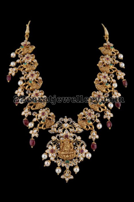 Peacock Pachi Set with Lakshmi Pendant