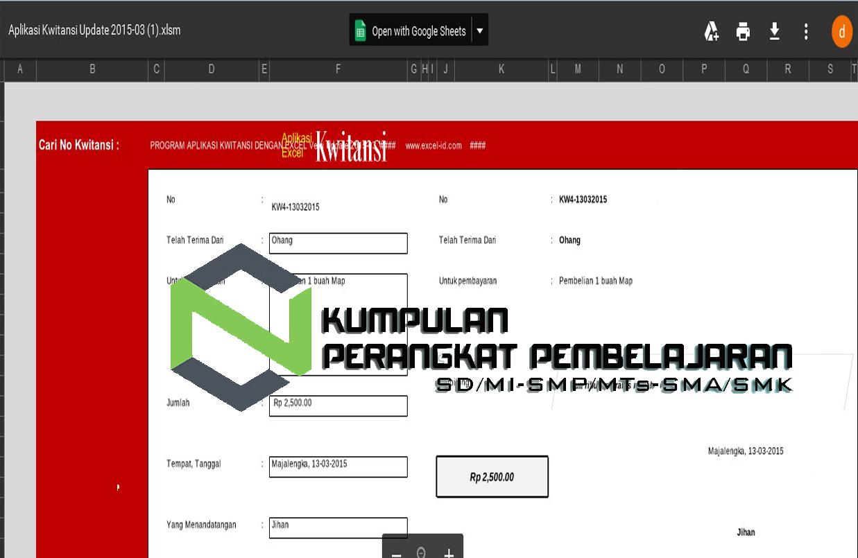 Gratis Aplikasi Cetak Kwitansi Bos Excel 2017 Perangkat
