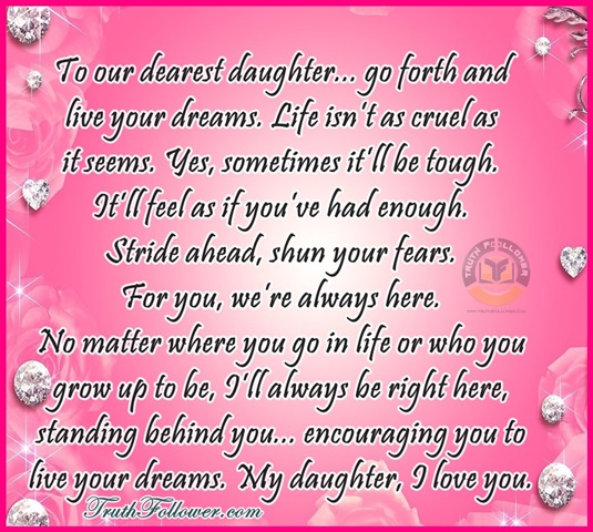 I Live For My Daughter Quotes: To Our Dearest Daughter , Daughters Quotation