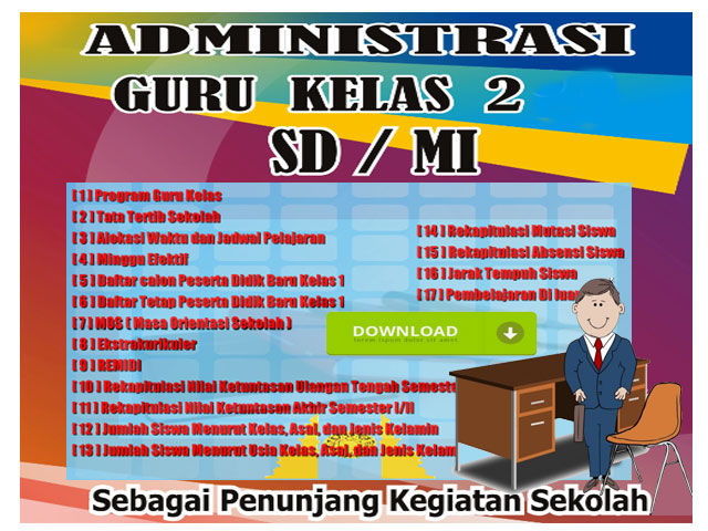 41 File Administrasi Guru Kelas 2 SD/MI Format Words
