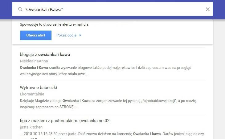 """Google Alerts dla słowa kluczowego """"Owsianka i Kawa"""""""