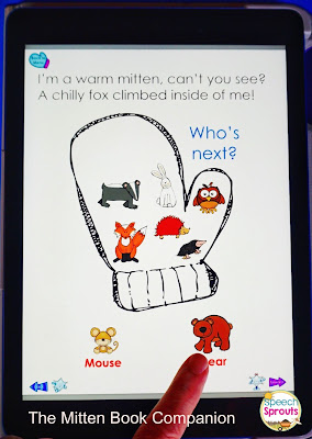 Learn how to use No-Print Activities in speech therapy on your I-Pad or computer like this The Mitten Book Companion for winter. Portable and no-prep materials that make organization easy. Terrific with toddlers, preschool and autism students. #speechsprouts #speechtherapy #noprint #winter www.speechsproutstherapy.com