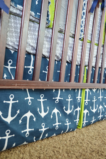 Box Pleated Crib Skirt for Boy Nautical Anchors Navy Blue and Green