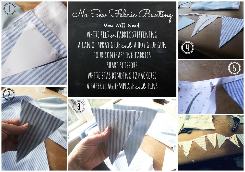 Great Fun etc: No-Sew Fabric Bunting (that looks like it's sewn)