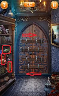 ищем книги на полке и с их помощью двигаем засовы на дверях