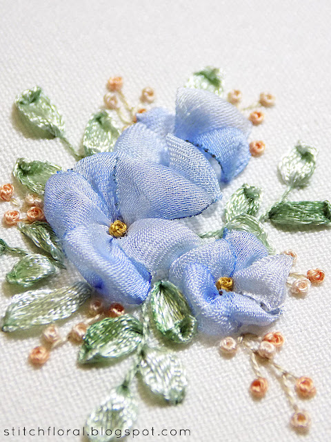 Forget me nots: ribbon embroidery tutorial
