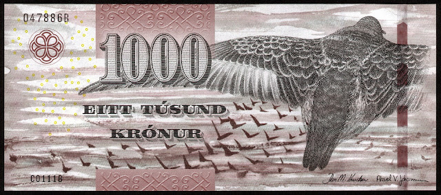 Faroe Islands Banknotes 1000 Krone banknote 2011 Purple sandpiper