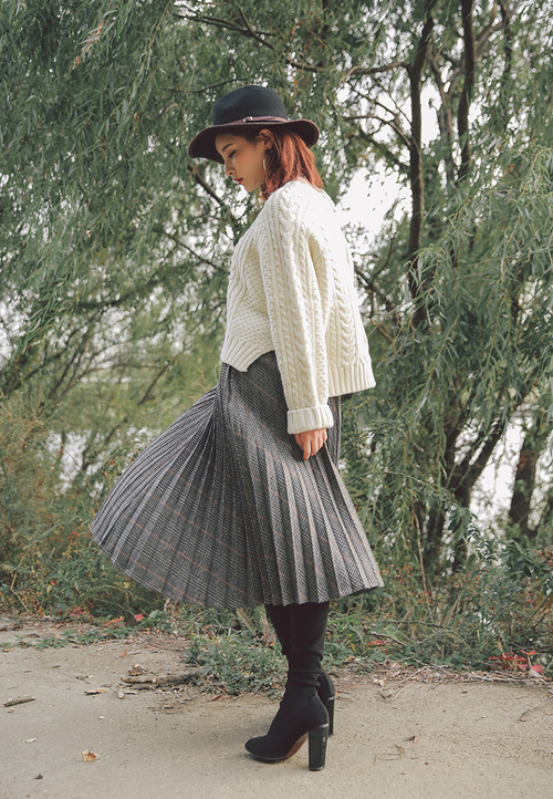 Glen Check Accordion Pleat Skirt