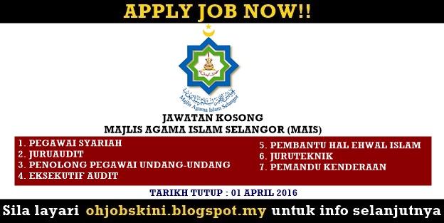 Jawatan Kosong Majlis Agama Islam Selangor (MAIS)