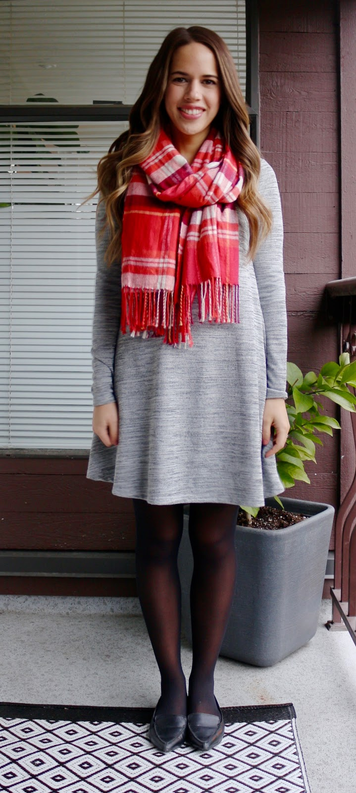 Jules in Flats - January Work Outfits (Swing Dress with Plaid Scarf)