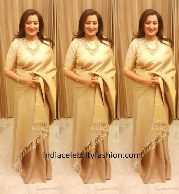 Sumalatha in Kanjivaram Saree at Sreeja's Wedding