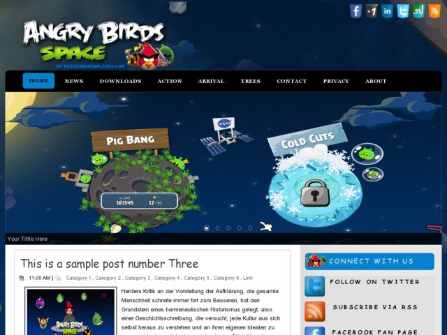 Angry Birds Space Blogger Template
