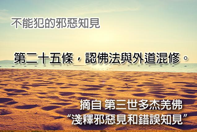 第三世多杰羌佛說法「淺釋邪惡見和錯誤知見」 之 不能犯的邪惡知見 - 第二十五條