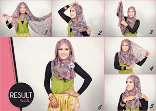 cara dan contoh serta tutorial lengkap memakai jilbab modern dengan gambar