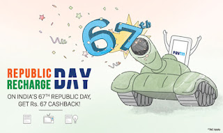 Paytm Republic Day Offer - Get Rs.67 Cashback on Recharge and Bill Payment