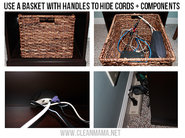 Use baskets for organizing cords and components around the house and the office:: OrganizingMadeFun.com