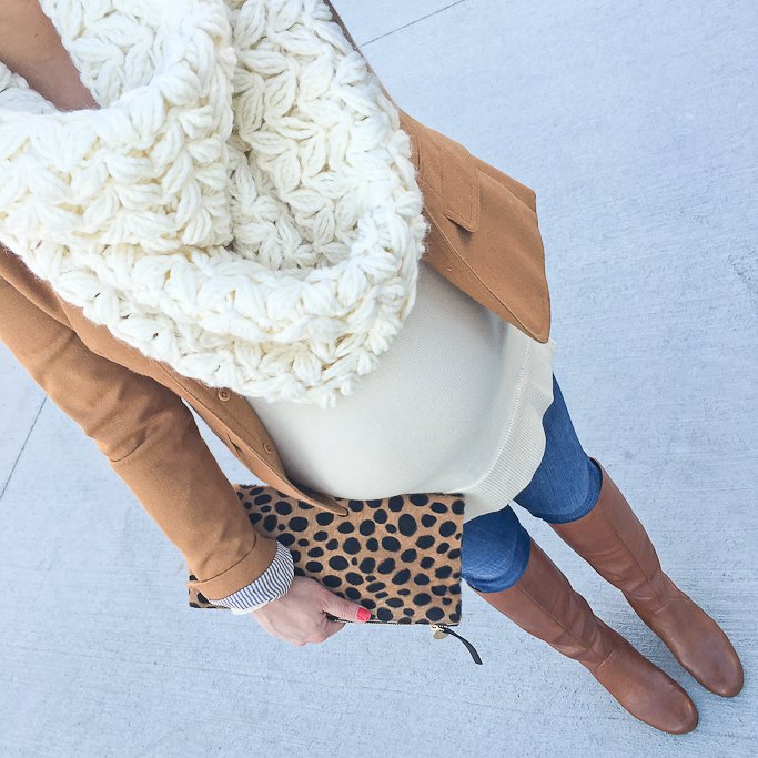 Ann Taylor tunic sweater, Anthropologie chunky knit scarf, Clare V leopard foldvover clutch, cognac boots for petites, Fall outfit, J.Crew schoolboy blazer camel, materntiy, petite maternity clothes, pregnancy outfits