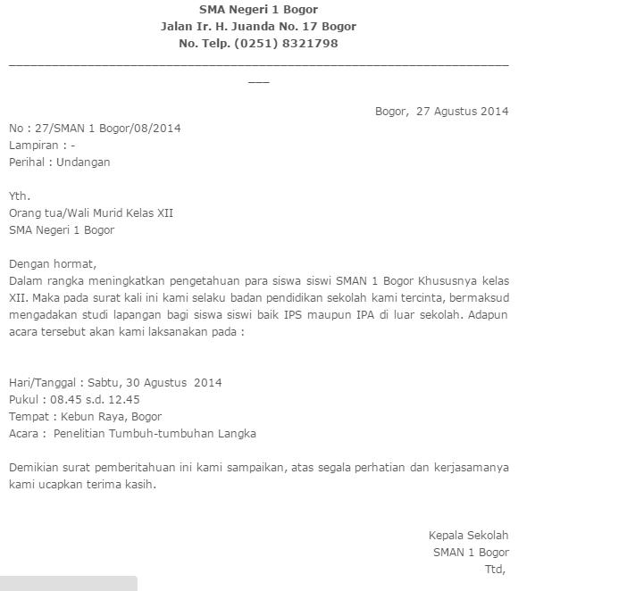 Inilah Contoh Surat Undangan Resmi Dari Sekolah Dan Dinas Yang