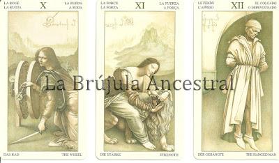Rueda, Fuerza y Colgado del mazo de Tarot Leonardo Da Vinci
