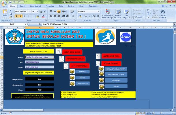 Aplikasi Penilaian Kelas Kurikulum 2013 SD Format Microsoft Excel