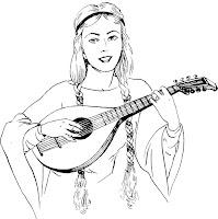 Lauta için bir kadın oynuyor