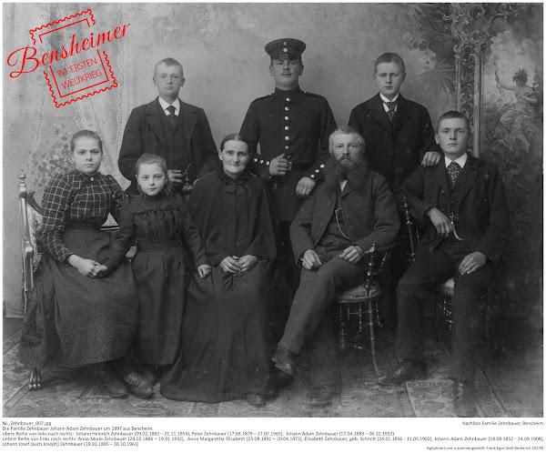 NL_Zehnbauer_007.jpg; Nachlass Familie Zehnbauer, Bensheim; obere Reihe von links nach rechts:  Johann Heinrich Zehnbauer (09.02.1882 – 21.11.1953), Peter Zehnbauer (17.03.1879 – 17.07.1965),  Johann Adam Zehnbauer (17.04.1883 – 06.10.1952), untere Reihe von links nach rechts: Anna Marie Zehnbauer (24.02.1886 – 19.01.1932), Anna Margaretha Elisabeth (23.08.1891 – 20.04.1973), Elisabeth Zehnbauer, geb. Schmitt (24.01.1856 - 11.05.1902), Johann Adam Zehnbauer (18.08.1852 - 24.09.1908), Johann Josef (auch Joseph) Zehnbauer (19.01.1885 – 30.10.1961), digitalisiert und zusammengestellt: Frank-Egon Stoll-Berberich 2017 ©.