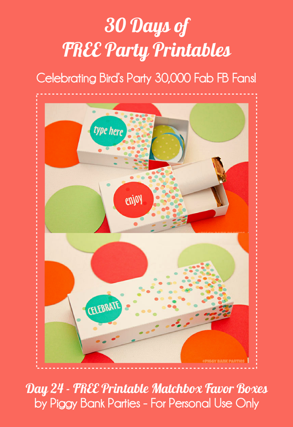 Free Party Printable Confetti Matchbox Favors - via BirdsParty.com