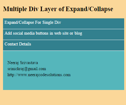 Multiple Div Layer of Expand/Collapse using Java Script and