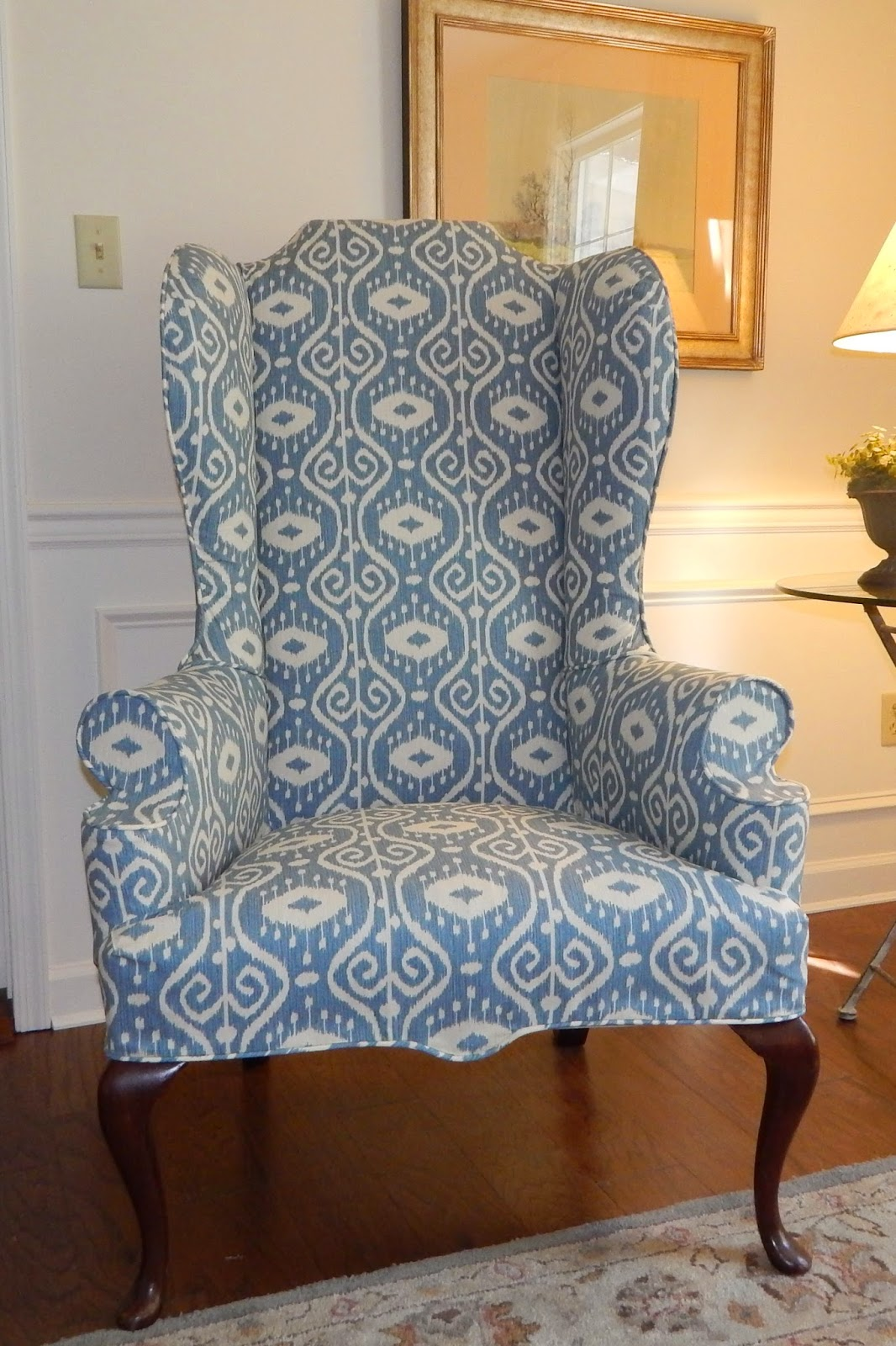 white cotton wing chair slipcover fishing cushion pam morris sews slipcovers