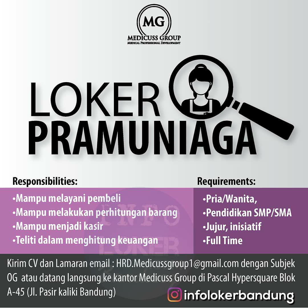 Lowongan Kerja Pramuniaga Medicuss Group Bandung Maret 2018