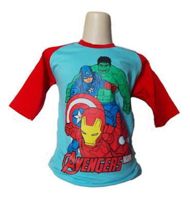 Kaos Raglan Anak Karakter The Avengers Biru Tosca