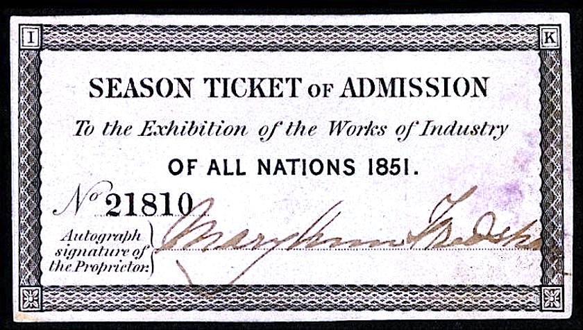 1851 Great Exhibition season ticket