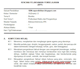Download RPP Kelas 6 Tema 8 Kurikulum 2013 Revisi 2018