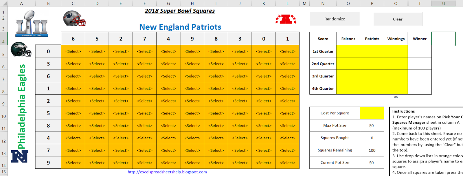 Excel Spreadsheets Help: Super Bowl Squares Template 2018