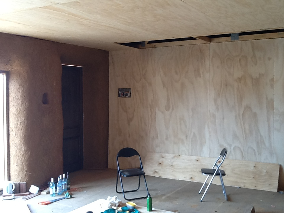 Plywood Walls and Ceilings | Prudence: New Age Shelter - Strawbale Abode